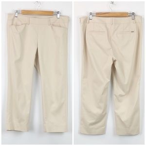 WHBM Beige Slim Ankle Career Pants